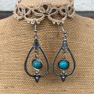 Boho Style Silver & Turquoise Sunnyouth Earrings